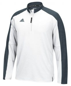 Men's Adidas White Gray Climalite Varsity 1/4 Zip Pullover