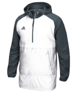 Men's Adidas White Gray Varsity Pullover Hooded Jacket