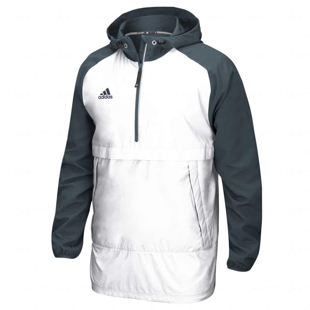 Men's Adidas White Gray Varsity Pullover Hooded Jacket