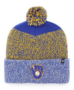 Milwaukee Brewers 47 Brand Blue Yellow Static Cuff Knit Hat