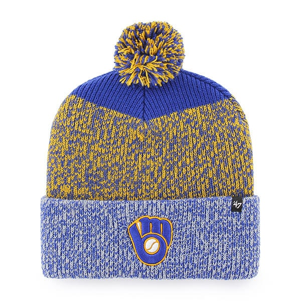 2d2f23653b7d4 ... official milwaukee brewers 47 brand blue yellow static cuff knit hat  4c2ee 78b17