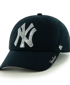New York Yankees Women's 47 Brand Sparkle Navy Clean Up Adjustable Hat