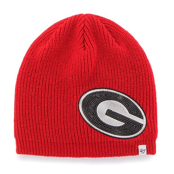 Georgia Bulldogs Women s 47 Brand Sparkle Red Beanie Hat - Detroit ... 55163e8acb