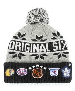 Original Six 47 Brand Rink Black Gray Cuff Knit Hat