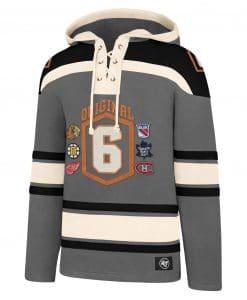 Original Six Men's 47 Brand Gray Pullover Jersey Hoodie