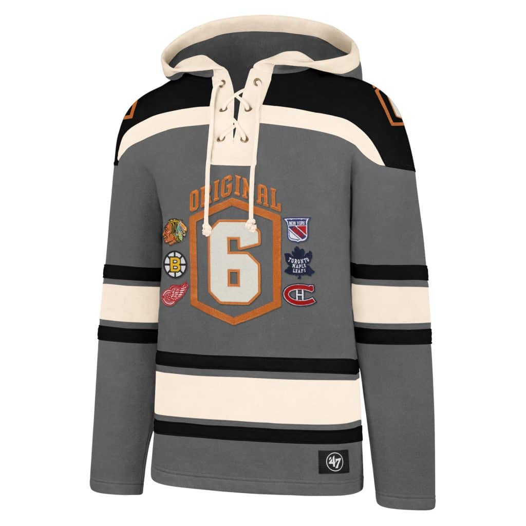 4987f0c7 Original Six SMALL Men's 47 Brand Gray Pullover Jersey Hoodie ...