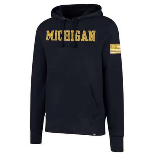 Michigan Wolverines Men's 47 Brand Camo Navy Headline Pullover Hoodie