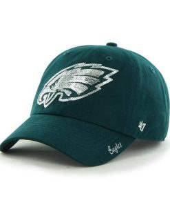 Philadelphia Eagles 47 Brand Women's Sparkle Green Team Color Clean Up Hat