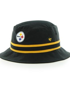 Pittsburgh Steelers 47 Brand Striped Bucket Black Hat