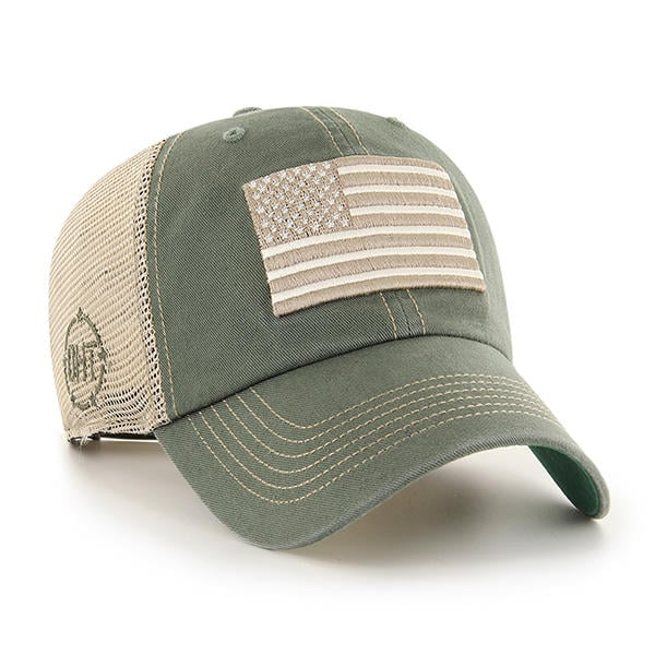 8a9563e3247 Operation Hat Trick 47 Brand Clean Up Trawler Green Moss USA Flag Hat -  Detroit Game Gear