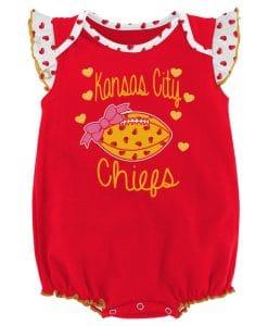 Kansas City Chiefs Baby 0/3M Hearts Red Onesie Creeper