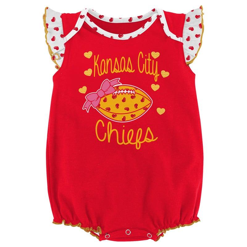 the latest 3c5b3 b2947 Kansas City Chiefs Baby 0/3M Hearts Red Onesie Creeper