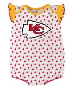 Kansas City Chiefs Baby Hearts White Onesie Creeper
