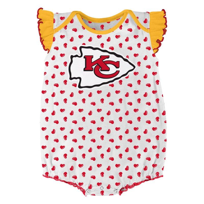 watch 7b624 8dc28 Kansas City Chiefs Baby 0/3M Hearts White Onesie Creeper