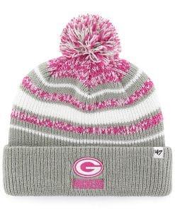 Green Bay Packers Girls KIDS 47 Brand Gray Pink Bubbler Cuff Knit Hat