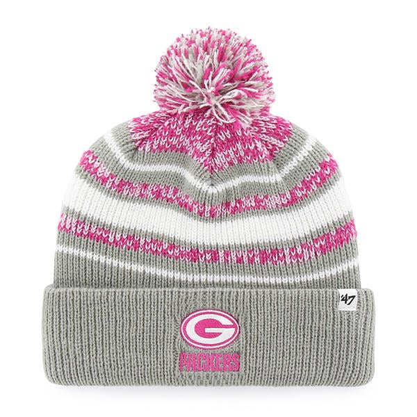 410b3d63079 4ca3c 0f9a6  discount green bay packers girls kids 47 brand gray pink  bubbler cuff knit hat b035e 7fde3