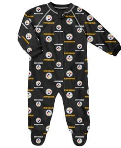 Pittsburgh Steelers Baby Black Raglan Zip Up Sleeper Coverall