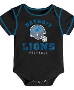 Detroit Lions 3/6 Months Baby Helmet Black Onesie Creeper