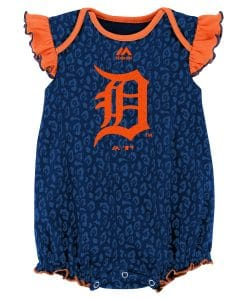 Detroit Tigers Girls Baby Navy Orange Onesie Creeper
