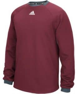Men's Adidas Fielder's Choice Burgundy Long Sleeve Fleece Crew Pullover