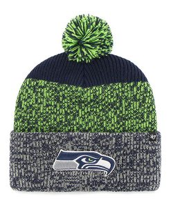 Seattle Seahawks 47 Brand Navy Lime Static Cuff Knit Hat