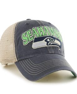 Seattle Seahawks 47 Brand Navy Tuscaloosa Vintage Clean Up Adjustable Hat