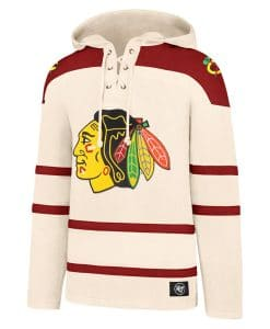 Chicago Blackhawks Men's XL 47 Brand Cream Vintage Pullover Jersey Hoodie