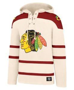 Chicago Blackhawks Men's XL 47 Brand Cream Vintage Pullover Jersey Hoodie