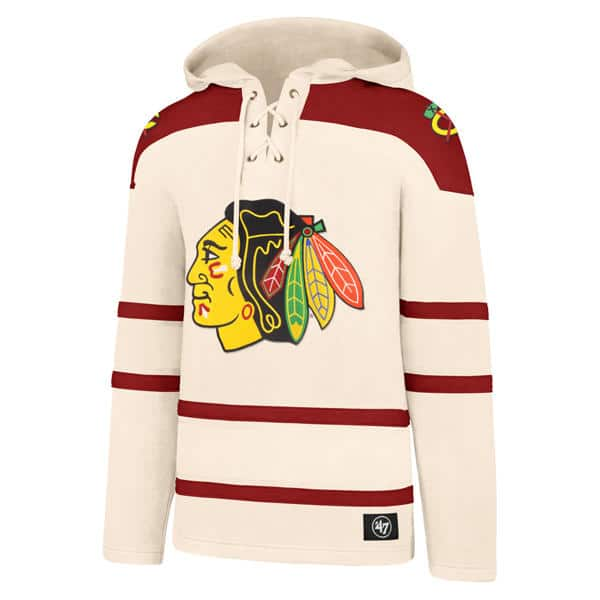 420c552d Chicago Blackhawks Men's 47 Brand Cream Vintage Pullover Jersey Hoodie
