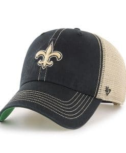 New Orleans Saints 47 Brand Trawler Black Clean Up Adjustable Hat