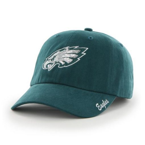 Philadelphia Eagles 47 Brand Women's Sparkle Pacific Green Clean Up Hat