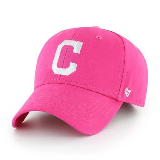 Cleveland Indians KIDS 47 Brand Bright Pink Girls Adjustable Hat