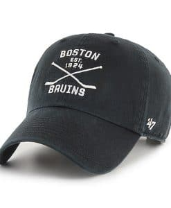 Boston Bruins 47 Brand Black Cross Sticks Adjustable Hat
