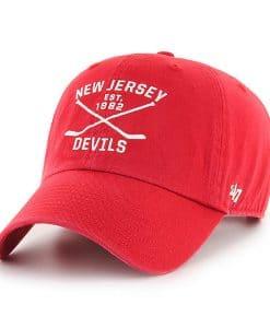 New Jersey Devils 47 Brand Cross Sticks Red Adjustable Hat