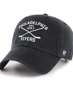 Philadelphia Flyers 47 Brand Black Cross Sticks Adjustable Hat