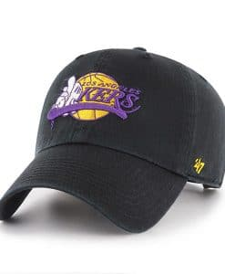 Los Angeles Lakers 47 Brand Black Clean Up Adjustable Hat