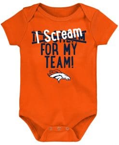 Denver Broncos Baby Orange Team Scream Onesie Creeper