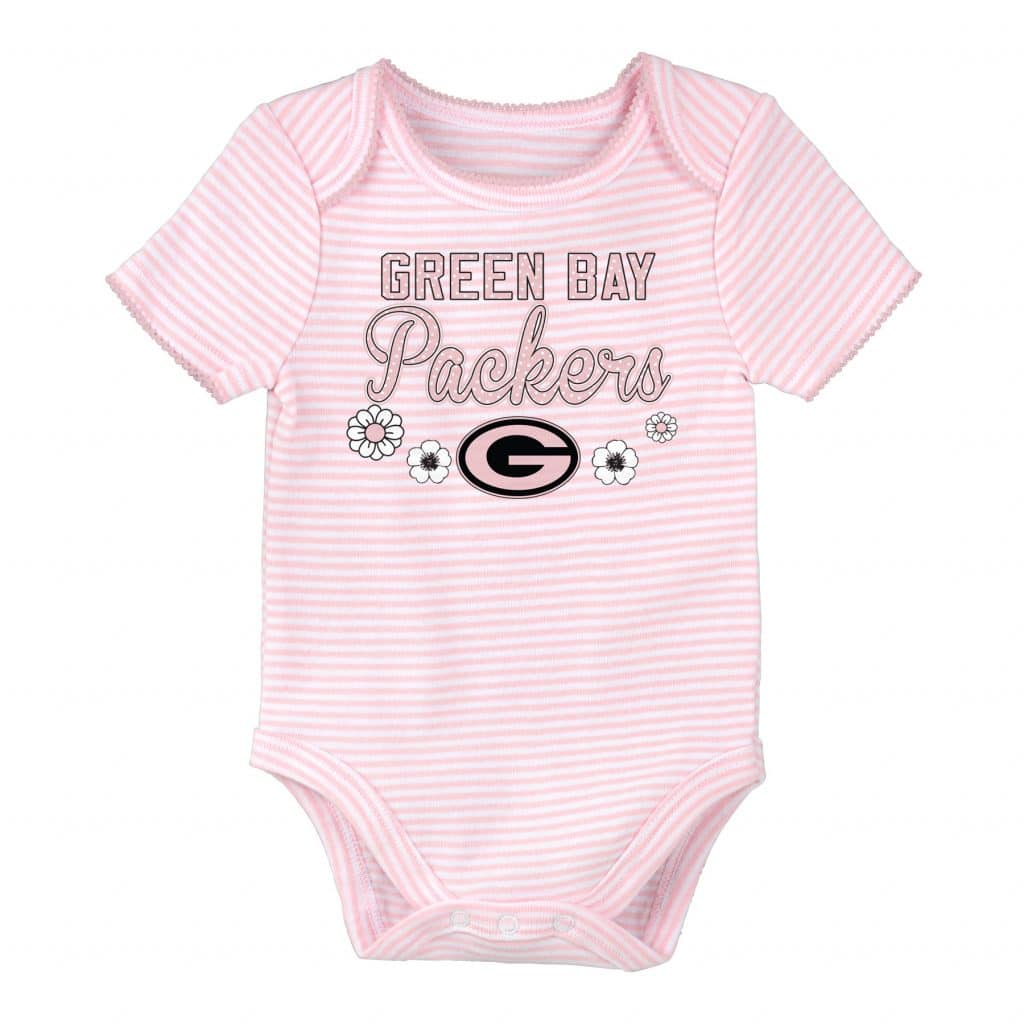 a65b6e6e Green Bay Packers Pink Striped Onesie Creeper