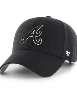 Atlanta Braves 47 Brand Black White Logo MVP Adjustable Hat
