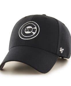 Chicago Cubs 47 Brand Black White Logo MVP Adjustable Hat