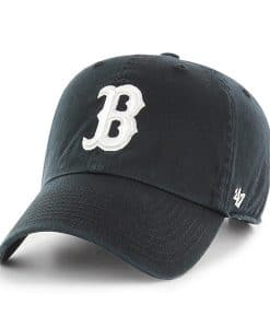 Boston Red Sox 47 Brand White Logo Black Clean Up Adjustable Hat