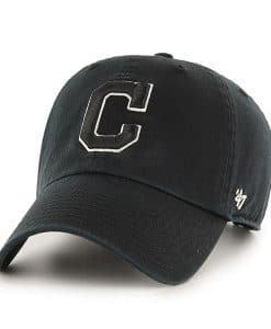 Cleveland Indians 47 Brand Black White Logo Clean Up Adjustable Hat