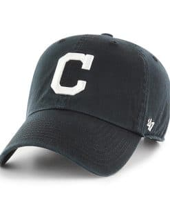 Cleveland Indians 47 Brand White Logo Clean Up Black Adjustable Hat