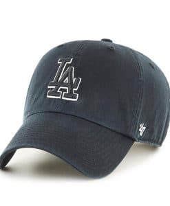 Los Angeles Dodgers 47 Brand Black White Logo Clean Up Adjustable Hat