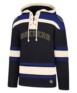 Milwaukee Brewers Men's 47 Brand Navy Pullover Jersey Hoodie