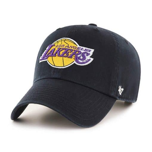 Los Angeles Lakers 47 Brand Black Logo Clean Up Adjustable Hat