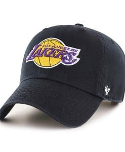 Los Angeles Lakers KIDS 47 Brand Black Logo Clean Up Adjustable Hat