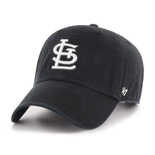 St. Louis Cardinals 47 Brand Black White Logo Clean Up Adjustable Hat