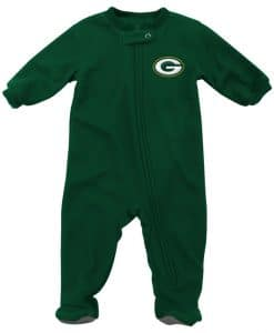 Green Bay Packers Baby Green Raglan Zip Up Blanket Sleeper Coverall