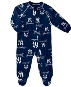 New York Yankees Baby Navy Raglan Zip Up Sleeper Coverall